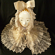 Delicious frothy antique French ladies tulle lace cap : ribbon bows