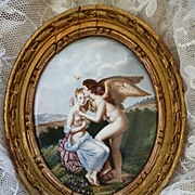 Decorative antique French hand painted porcelain miniature painting  : Cupid : classical scene