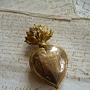 Delicious plump faded grandeur flaming sacred heart ex voto box : Maria circa 1880