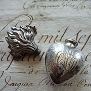 Splendid 19th C. French silver flaming sacred heart flacon : MA :  holy water