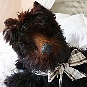 Adorable old French real fur Scottie boudoir pajama dog : ideal doll companion : ribbon bow
