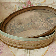 Delicious 19th C. French handmade fabric candy box : lithograph  cherubs bucolic scene