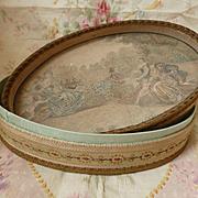 Delicious 19th C. French handmade fabric candy box : lithograph  cherubs bucolic scene