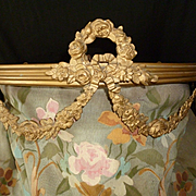 French faded grandeur gold metal bed canopy : corona : floral swags :  roses: circa 1900