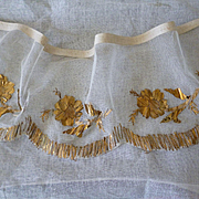 Morceau French hand embroidered gold metallic thread tulle panel floral motifs