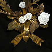 Delicious pair vintage gilt tole wall lights : sconces : porcelain flowers : bows : rosebuds