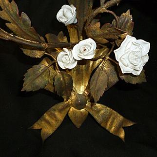Delicious pair vintage gilt tole wall lights : sconces : porcelain flowers : bows : rosebuds