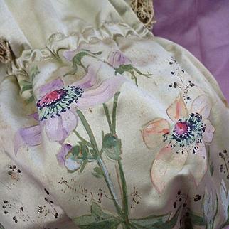 Unusual French hand painted silk confectioners bag : Maison Boissier, Paris : Anemone motifs : circa 1900