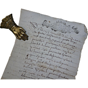 Rare decorative 17th C. French hand written paper document