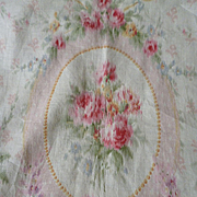 Delicious morceau antique French cotton fabric : rose medallion : bows : projects