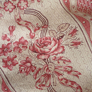 Delicious 19th C. French cretonne fabric panel : rose bouquets : ribbon : Chateau provenance + 3 yards