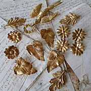 Delicious French ormolu motifs : dove floral wreath : flowers : leaves : projects