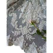 Delicious old French white Carrickmacross applied lace net panel  : floral motifs : projects