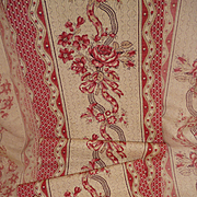 Delicious 19th C. French cretonne fabric : long narrow panel : small projects boxes