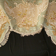 Antique French silk embroidered moire panel : valance : cantonniere : rose floral motifs