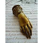 Decorative old French bronze hand paper weight : morceau old document
