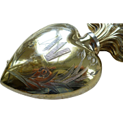 Large French silver gilt vermeil sacred heart holy water flacon : Iris motifs :  MA : dated 1857