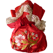 Darling French hand embroidered red satin confectioners bag : Maison Boissier, Paris : carnation motifs : lace