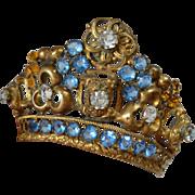 Bejeweled 19th C. French ormolu Madonna crown : tiara : faux jewels