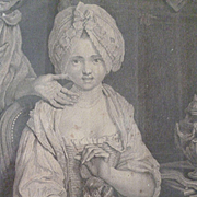 Charming 18th C. French engraving : young girl with dog : entitled maternal advice