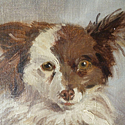 Adorable 19th C. signed portrait painting : dog : oil on canvas