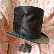 Deliciously crumpled 19th C. chocolate brown top hat : head mannequin : theater : period display