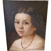 Portrait painting young girl with gold earrings , coral necklace : signed Sallé : dated 1860