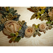 Decorative 19th C. French chenille hand embroidery textile  : gauze roses : scrolled initials IP