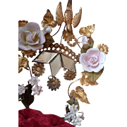 Delicious 19th C. French ormolu wedding cushion display stand : bisque roses rosebuds flowers