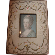 Delicious French moire silk ribbon work photo frame : roses : swags : bows
