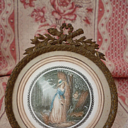 Decorative bronze photo : miniature frame : bow : laurel leaves : torch quiver motifs