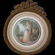 Decorative bronze photo : miniature frame : bow : laurel leaves : torch quiver motifs