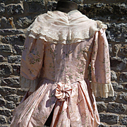 Delicious 19th C. French child's pink silk dress jacket : lace : period display