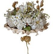 Delicious French bride's artificial flower : wax bud wedding bouquet : lace ribbon bow