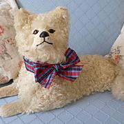 """Florence"" vintage French cream fur pajama dog : doll companion"