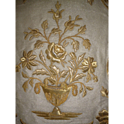 Opulent 19th C. French morceau religious cope : gold metallic vase : Rose : bouquet