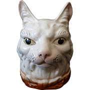 Rare figural childs large ceramic Cat coin money box : collar : bow
