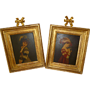 Charming pair 19th C. framed portrait paintings : young ladies with big hats : bows