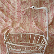 Unusual antique French doll's wooden cradle : bed : swan canopy :  faux bamboo
