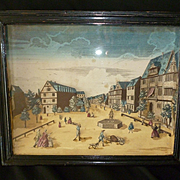 Decorative 19th C. French shadow box print diorama : 18th C. town scene