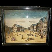 Decorative 19th C. French shadow box print diorama : 18th C. town scene