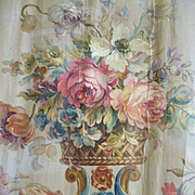 Decorative 19th C. hand painted Aubusson tapestry pattern : cartoon : floral bouquet swags