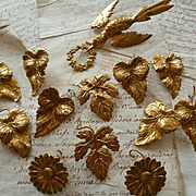 Delicious old French ormolu motifs : leaves : flowers : dove : projects