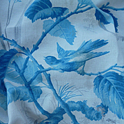Pretty faded grandeur French 19th C. cotton fabric panel : birds : butterfly : projects