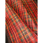 Rare morceau 19th C. French taffeta plaid fabric : doll clothing projects