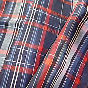 Rare morceau 19th C. French plaid taffeta fabric : doll clothing project