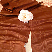 Delicious 19th C. French chocolate colored silk moire ribbon : extra wide : + 5 yards