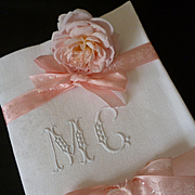 6 delicious French dowry linen damask hand embroidered napkins : monogram : MC