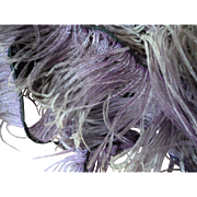 Frothy 19th C. French grey : mauve ostrich feather trim : + 5 yards : projects