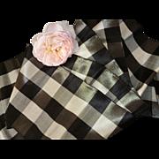 Pretty antique French black , grey , cream check  silky ribbon : 4 yards